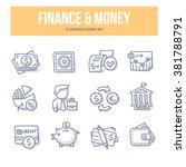 doodle line icons of banking ... | Shutterstock .eps vector #381788791