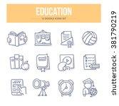 doodle line icons of school... | Shutterstock .eps vector #381790219