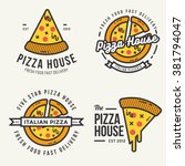 set of  pizza logo  badges ... | Shutterstock .eps vector #381794047