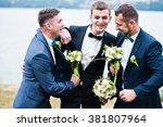three friends  groom with...   Shutterstock . vector #381807964