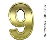 One digit from shiny gold with gold frame alphabet set, isolated on white. Computer generated 3D photo rendering. - stock photo