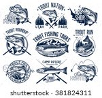 vintage trout fishing emblems ... | Shutterstock .eps vector #381824311