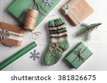 Pair Of Knitted Socks With...