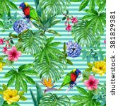 Watercolor Tropical Striped...
