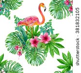 watercolor tropical seamless... | Shutterstock . vector #381832105