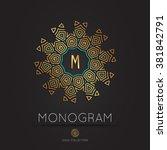 royal modern monogram  logo... | Shutterstock .eps vector #381842791