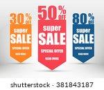 super sale paper banner.... | Shutterstock .eps vector #381843187