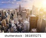 new york city skyline with...   Shutterstock . vector #381855271