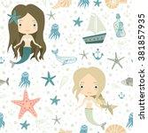 mermaids. little cute girls.... | Shutterstock .eps vector #381857935