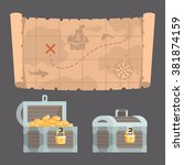 treasure map and chest with gold | Shutterstock .eps vector #381874159