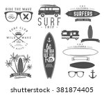 set of vintage surfing graphics ... | Shutterstock .eps vector #381874405