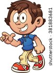 cartoon boy walking and... | Shutterstock .eps vector #381883681