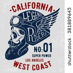 rider skull with retro racer... | Shutterstock .eps vector #381889645