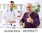 satisfied old patient with... | Shutterstock . vector #381900277