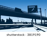 freeway interchange on the blue ... | Shutterstock .eps vector #3819190