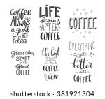 quote coffee typography set.... | Shutterstock .eps vector #381921304