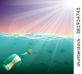 cartoon underwater world with... | Shutterstock .eps vector #381924745