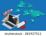 global logistics network...   Shutterstock .eps vector #381927511