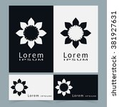 black and white floral...   Shutterstock .eps vector #381927631