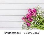 bouquet of pink tulips and... | Shutterstock . vector #381932569