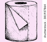 toilet paper doodle style ... | Shutterstock . vector #381937864