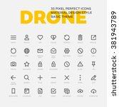 Drone Icons. Set Of 35 Flat...