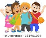 group of kids going to school... | Shutterstock .eps vector #381961039