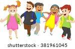 elementary school pupils... | Shutterstock . vector #381961045