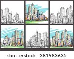 cityscape. hand drawn vector | Shutterstock .eps vector #381983635