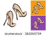 nude high heel woman shoe... | Shutterstock .eps vector #382005739