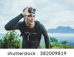 attractive traveler with go pro ... | Shutterstock . vector #382009819