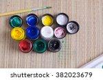 top view of opened bottles of... | Shutterstock . vector #382023679