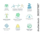 set of yoga logos. graphic... | Shutterstock .eps vector #382037887
