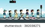 students walk across the... | Shutterstock .eps vector #382038271