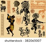 indian set. red indians. the... | Shutterstock .eps vector #382065007