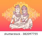 the legend of marriage of shiva ... | Shutterstock .eps vector #382097755
