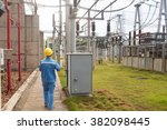 workers use instrument testing... | Shutterstock . vector #382098445