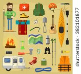 objects for camping  tracking... | Shutterstock .eps vector #382101877