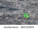 Three Leaf Clover On Grunge Ol...