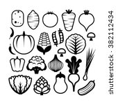 vegetables icons in flat black... | Shutterstock .eps vector #382112434