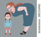 little girl holding back tears...   Shutterstock .eps vector #382116481