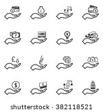 hand and money icon set for web ... | Shutterstock .eps vector #382118521