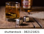whiskey glass with stainless... | Shutterstock . vector #382121821