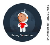 cute flat style astronaut with... | Shutterstock .eps vector #382127551
