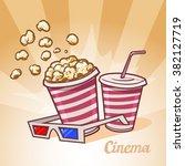 cinema symbols  popcorn  soda ... | Shutterstock .eps vector #382127719