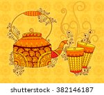vector design of tea kettle and ... | Shutterstock .eps vector #382146187