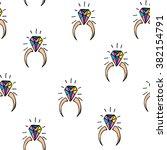 cartoon hand drawn diamond ring.... | Shutterstock .eps vector #382154791