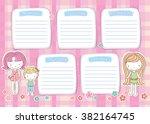school timetable for girl ... | Shutterstock .eps vector #382164745