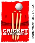 illustration of cricket stumps... | Shutterstock .eps vector #382173265