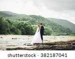 beautifull wedding couple... | Shutterstock . vector #382187041